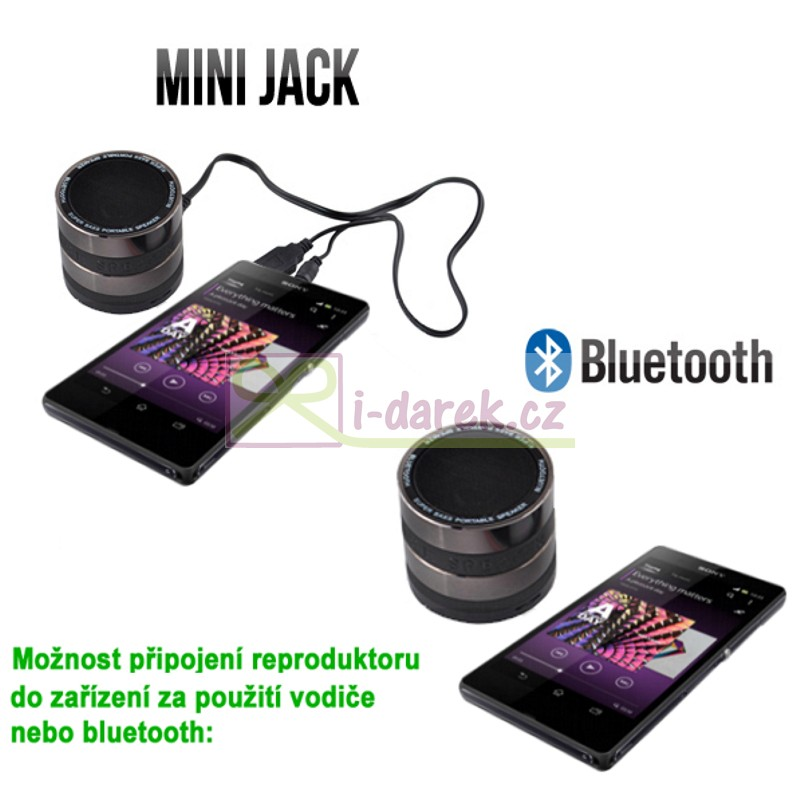 Bezdrôtový mini reproduktor bluetooth - Handsfree, rádio, MP3 / MP4